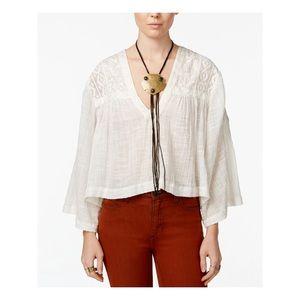 Free People Ivory Crochet Poncho Shirt boho Lace